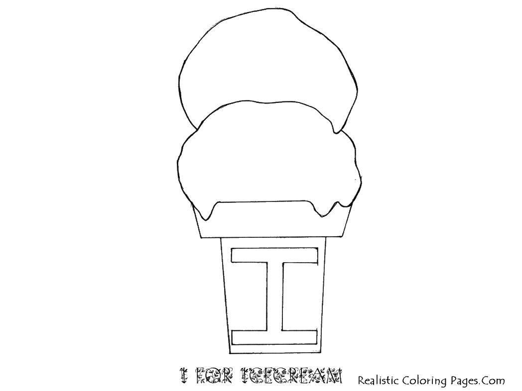 Раскраска Два шарика мороженого в стаканчике. Скачать мороженое, стакан, вафля.  Распечатать ,мороженое,