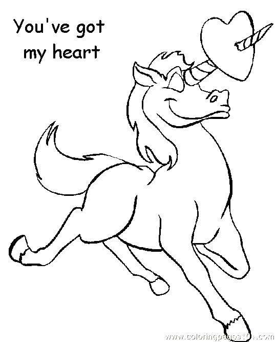Раскраска Единорог и сердце. Скачать единорог, хвост, сердце.  Распечатать ,единороги,