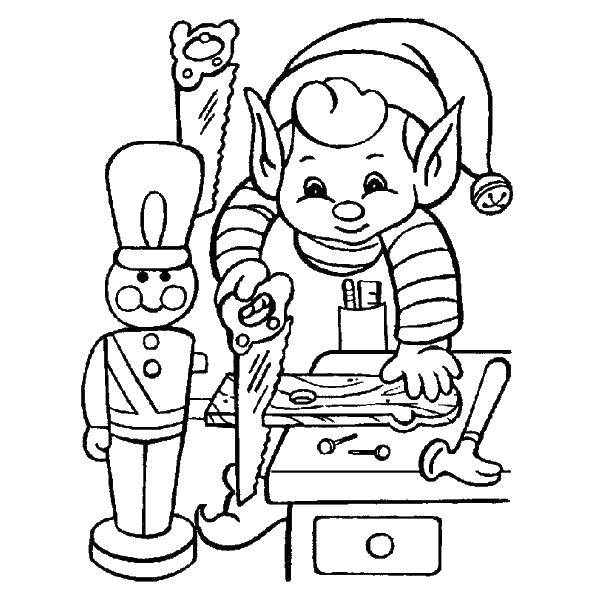 Раскраска Эльф и игрушки Скачать эльфы, солдатики, пила, гвозди.  Распечатать ,Рождество,