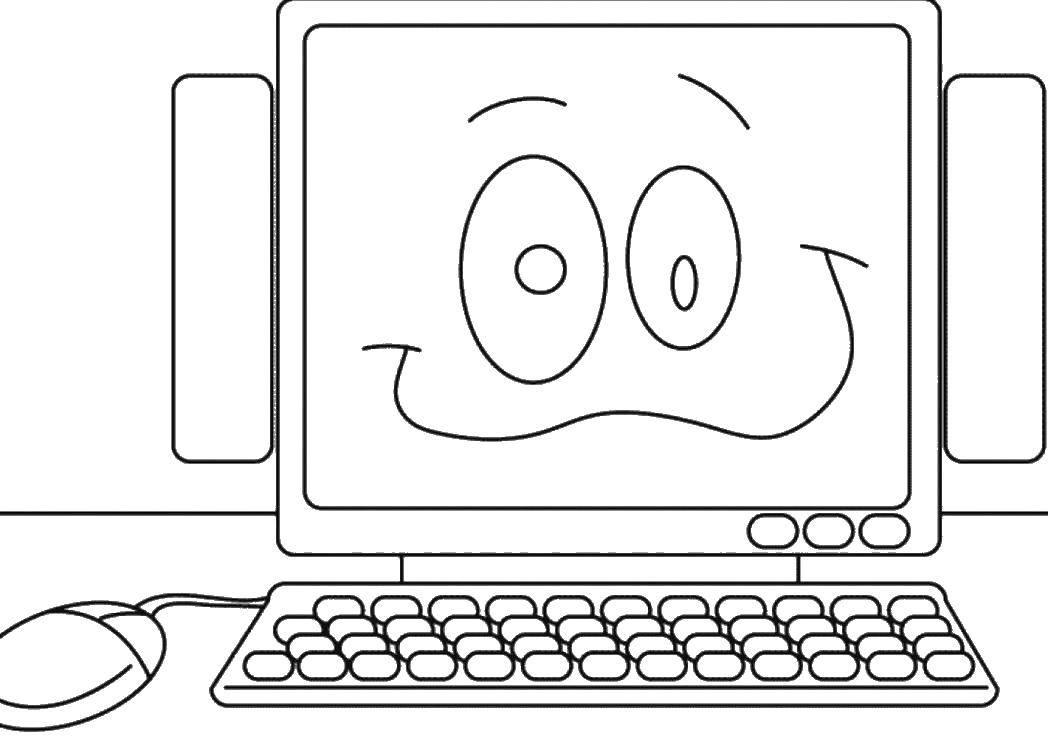 Раскраска Компьютер и колонки Скачать компьютер, колонки, клавиатура.  Распечатать ,раскраски,