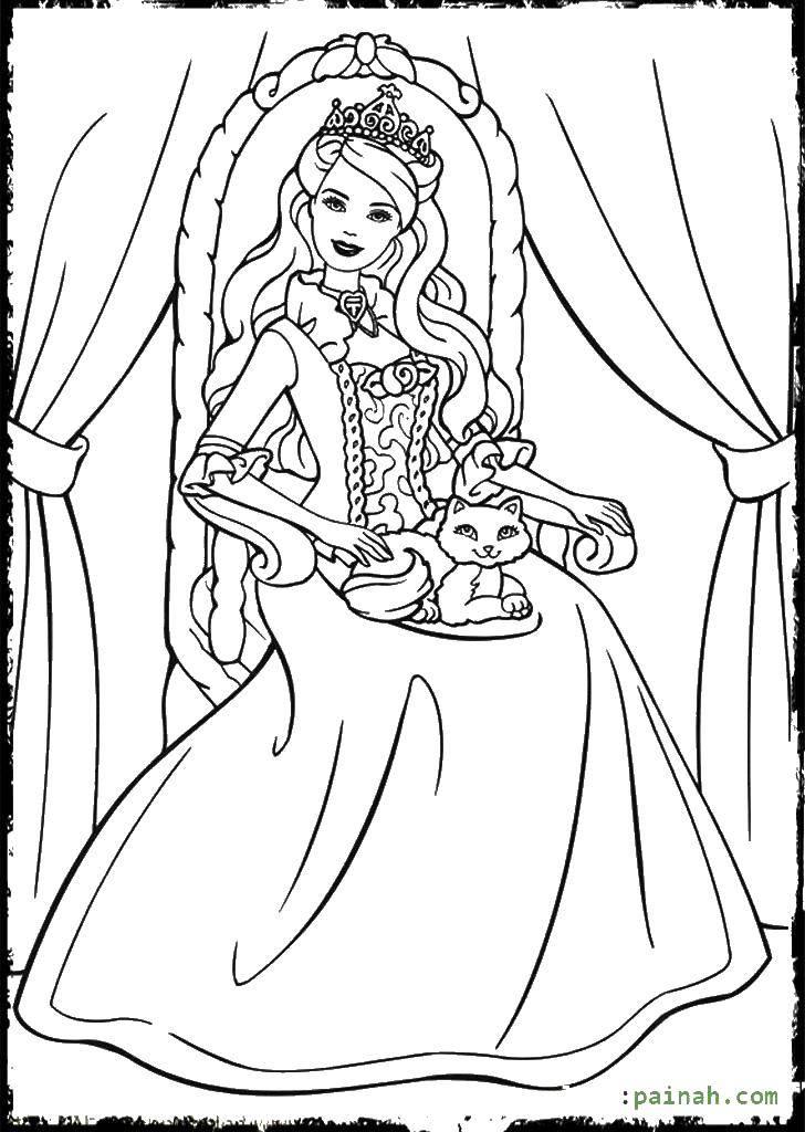 Раскраска Королева барби с котом. Скачать Барби, принцесса, принц.  Распечатать ,Королева,