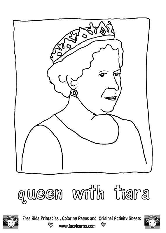 Раскраска Королева елизавета и тиара. Скачать королева, тиара, Великобритания.  Распечатать ,Королева,