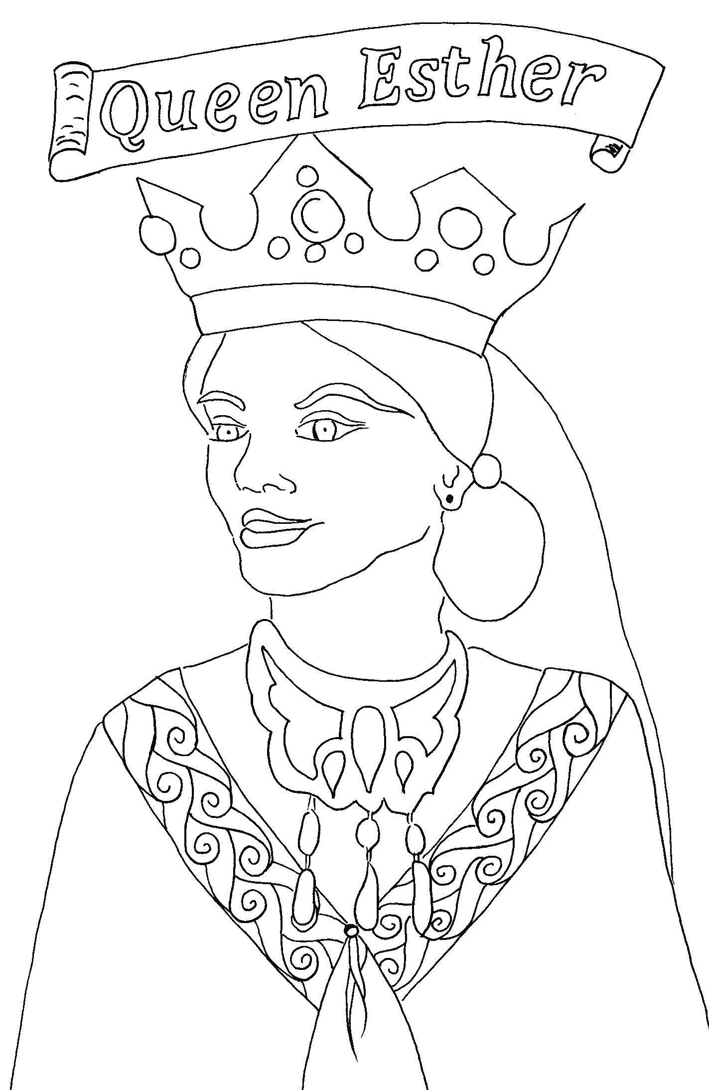 Раскраска Королева эстер. Скачать Король, королева.  Распечатать ,Королева,