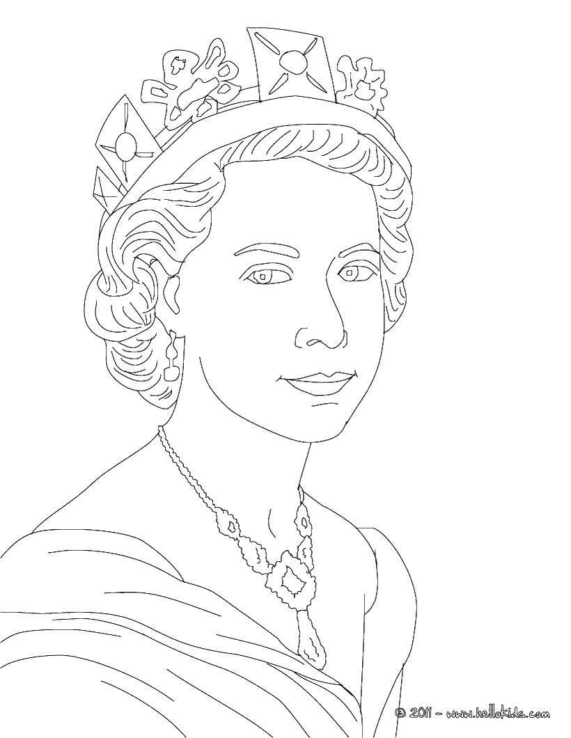 Раскраска Королева и тиара. Скачать королева, тиара, ожерелье.  Распечатать ,Королева,