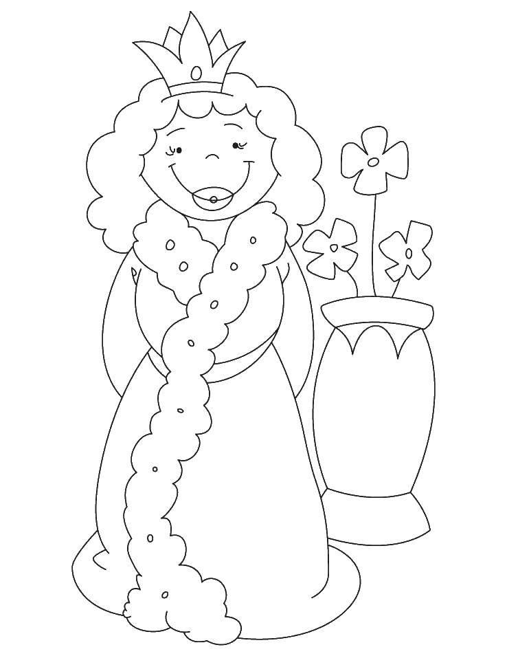 Раскраска Королева и ваза с цветами. Скачать королева, ваза, цветы.  Распечатать ,Королева,