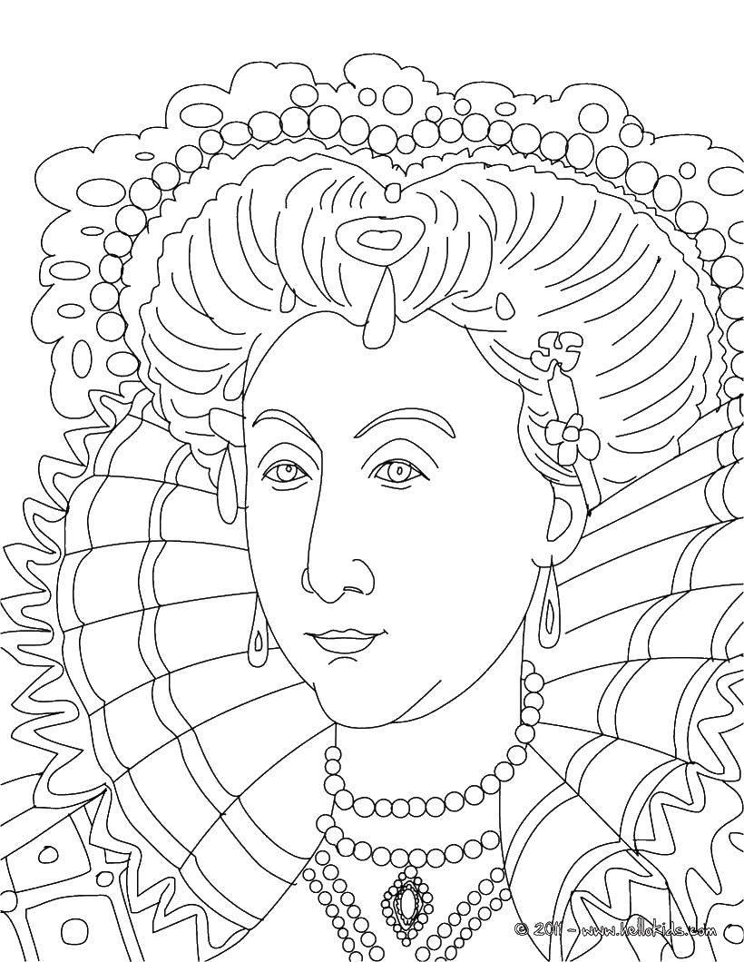 Раскраска Королева в драгоценностях. Скачать королева, серьги, драгоценности.  Распечатать ,Королева,
