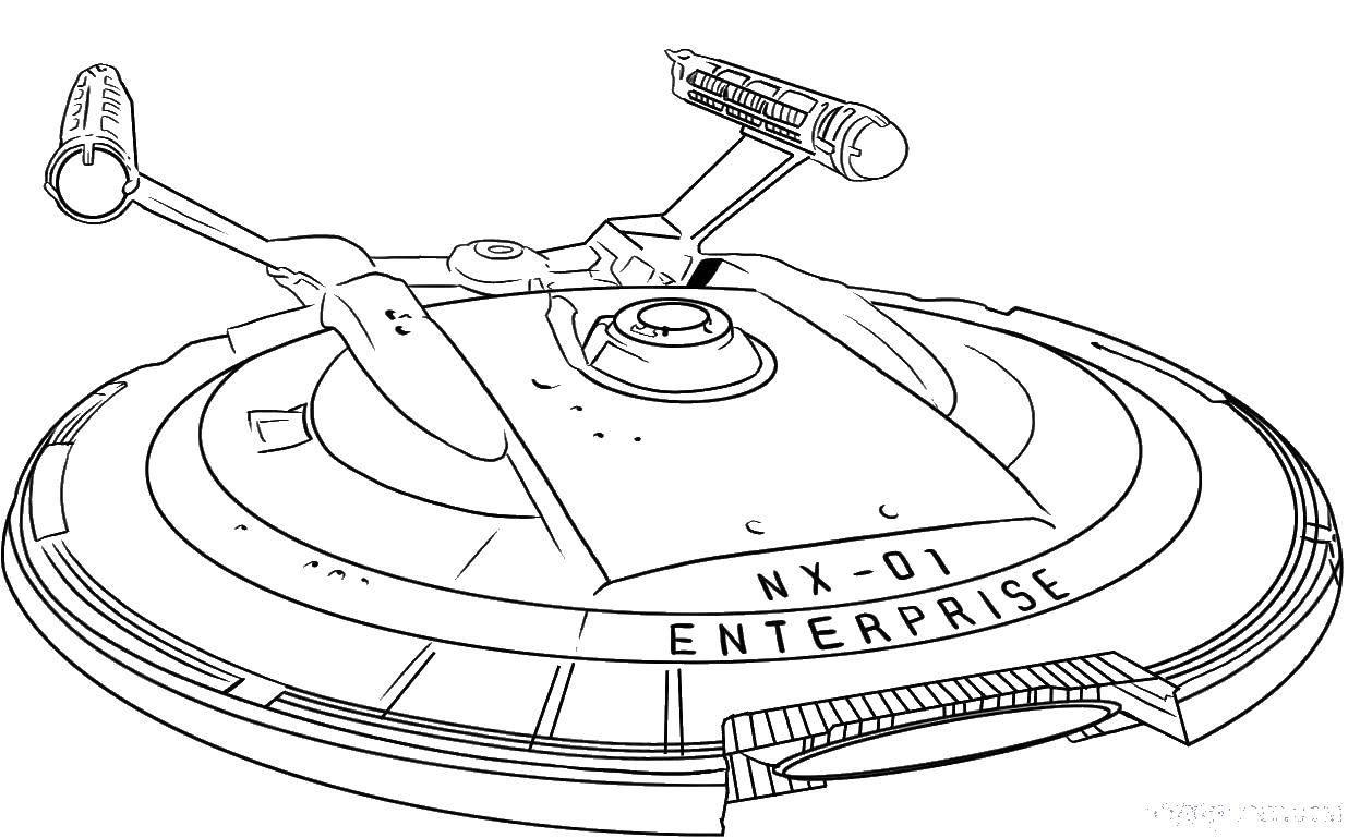 Раскраска Космическая тарелка Скачать корабль, космос, звезды.  Распечатать ,космические корабли,