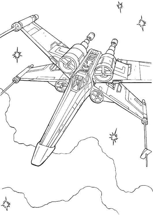Раскраска Космический корабль и звезды Скачать корабль, космос, звезды.  Распечатать ,космические корабли,