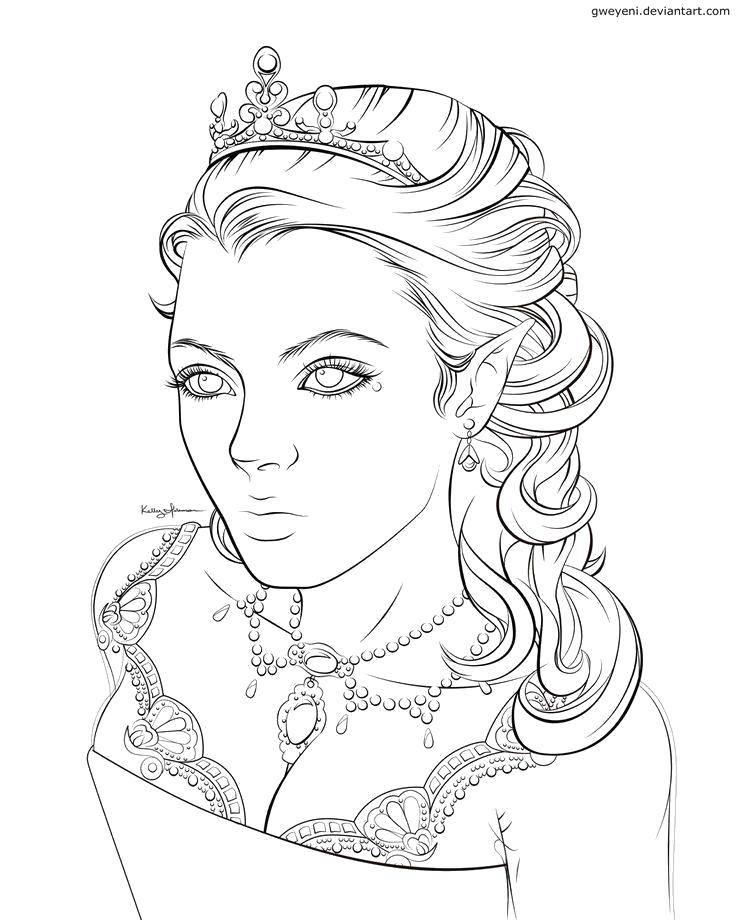 Раскраска Красавица королева. Скачать Король, королева.  Распечатать ,Королева,