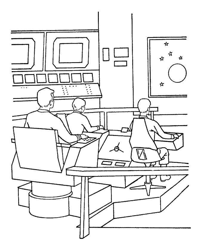 Раскраска Люди в космическом корабле Скачать корабль, люди, экран, пульт.  Распечатать ,космические корабли,