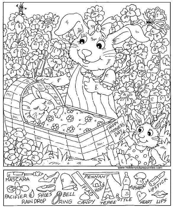 Раскраска Мама крольчиха и крольчата Скачать крольчиха, крольчата, колыбель.  Распечатать ,Найди предметы,