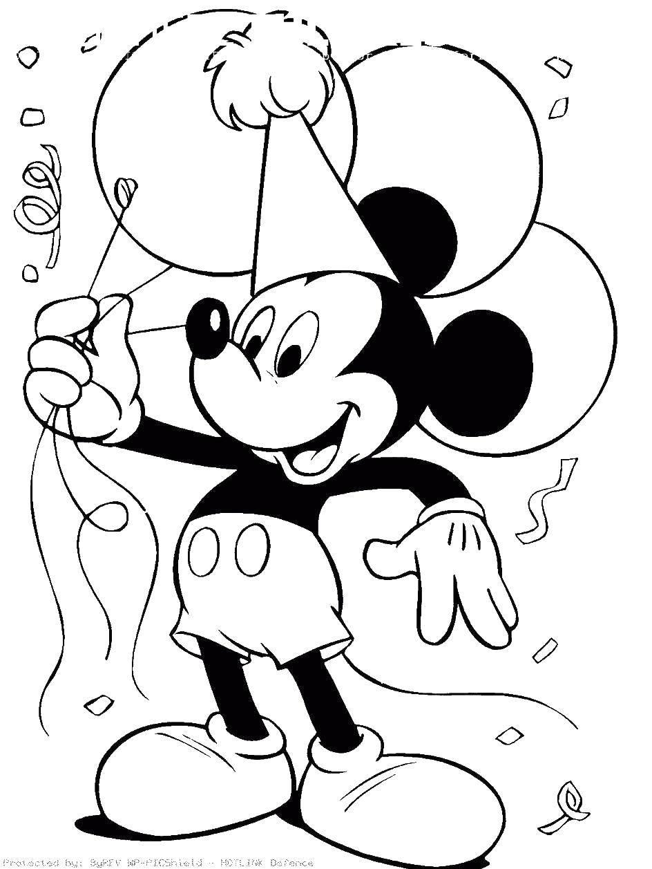 Раскраска Микки маус и шарики. Скачать Микки, шарики, колпак.  Распечатать ,микки маус,