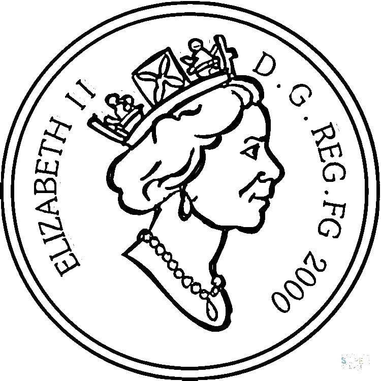 Раскраска Монета с елизаветтой. Скачать Деньги.  Распечатать ,Королева,