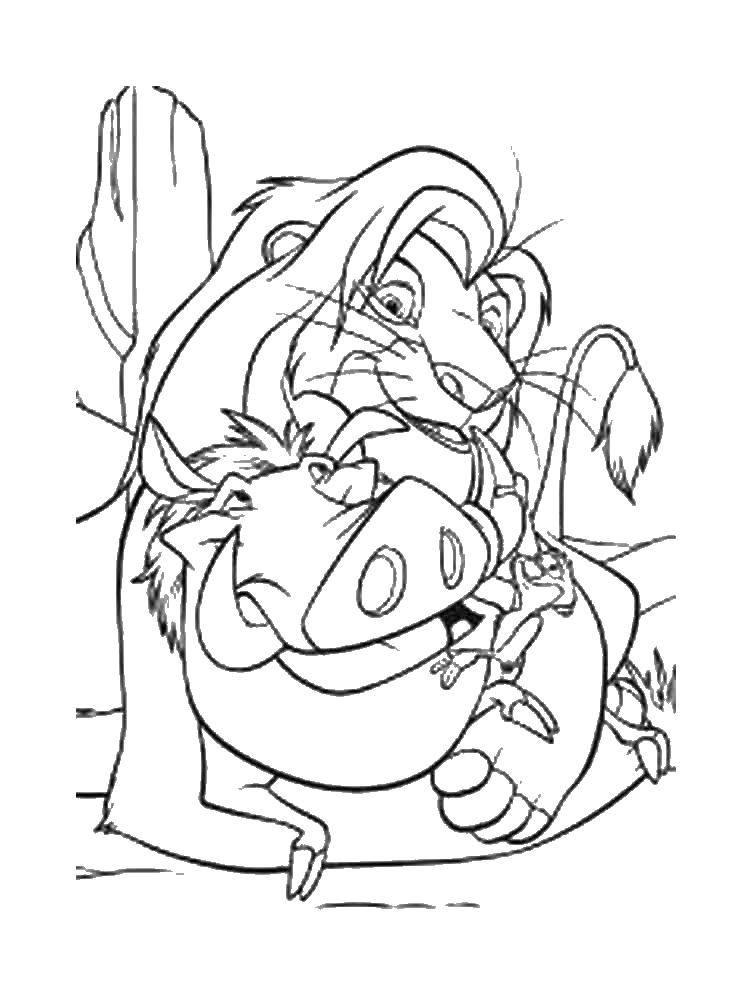 Раскраска Муфаса и пумба. Скачать лев, кабан, Тимон.  Распечатать ,Король лев,