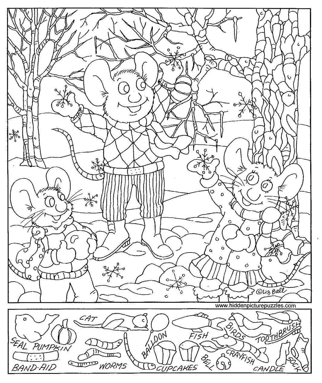 Раскраска Мышата и снежки Скачать мышата, снежки, деревья, куртки.  Распечатать ,Найди предметы,