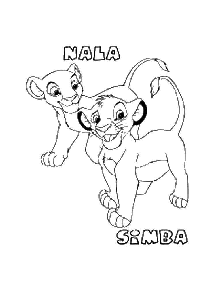 Раскраска Нала и симба. Скачать львята, Нала, Симба.  Распечатать ,Король лев,