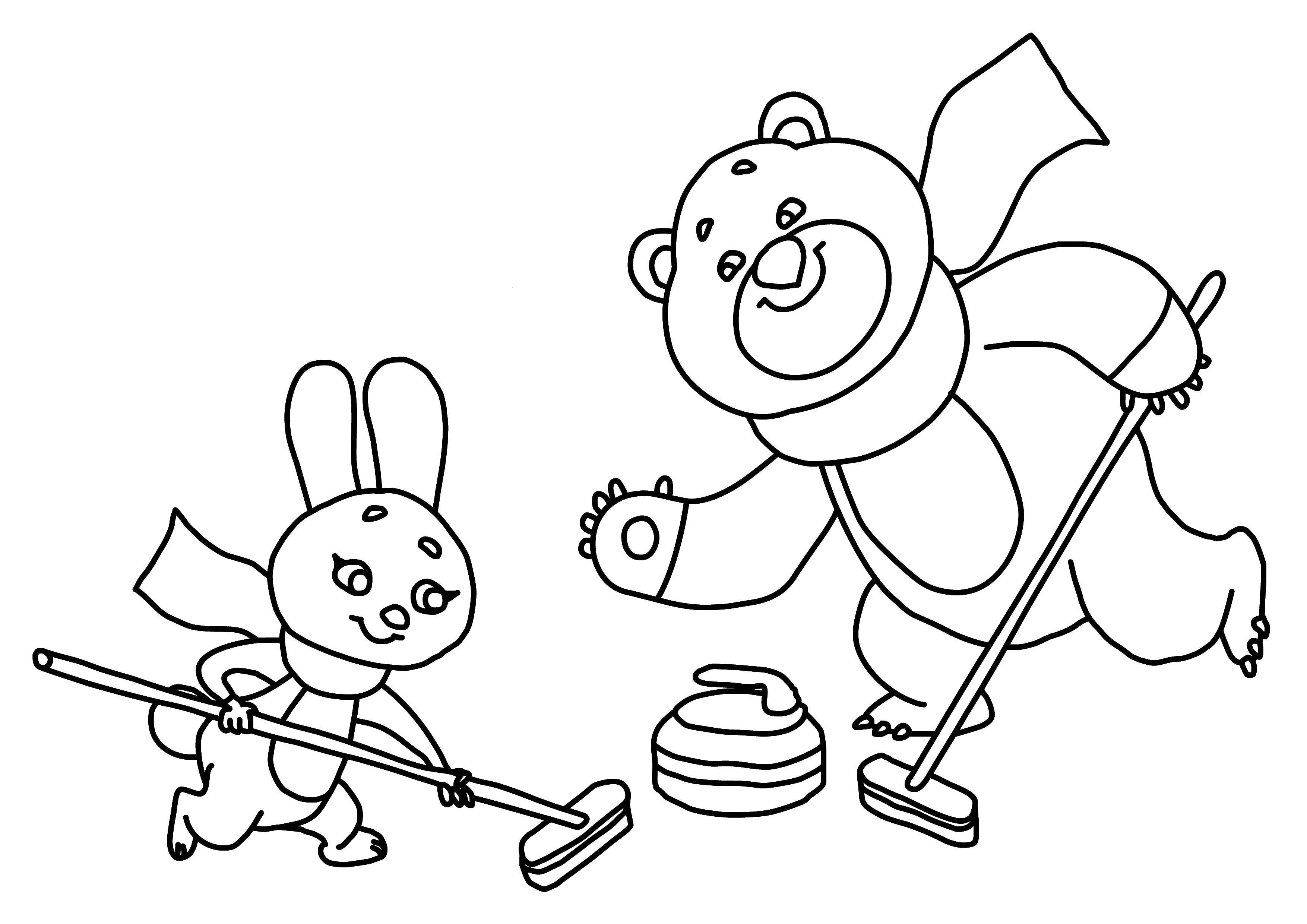 Раскраска Олимпийский мишка и заяц играют в керлинг Скачать мишка, заяц, керлинг.  Распечатать ,олимпийские игры,