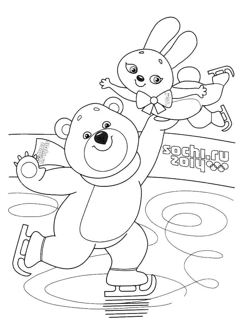Раскраска Олимпийский мишка и зайка на катке Скачать мишка, зайка, коньки, лед.  Распечатать ,олимпийские игры,