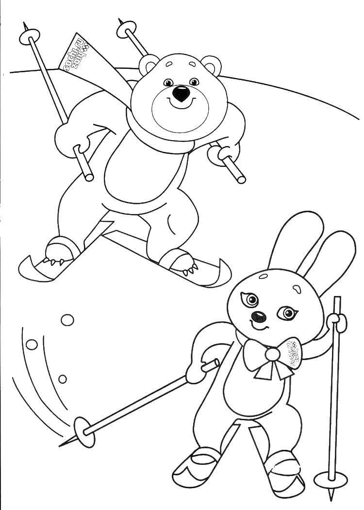 Раскраска Олимпийский мишка и зайка на лыжах Скачать мишка, зайка, лыжи, склон.  Распечатать ,олимпийские игры,
