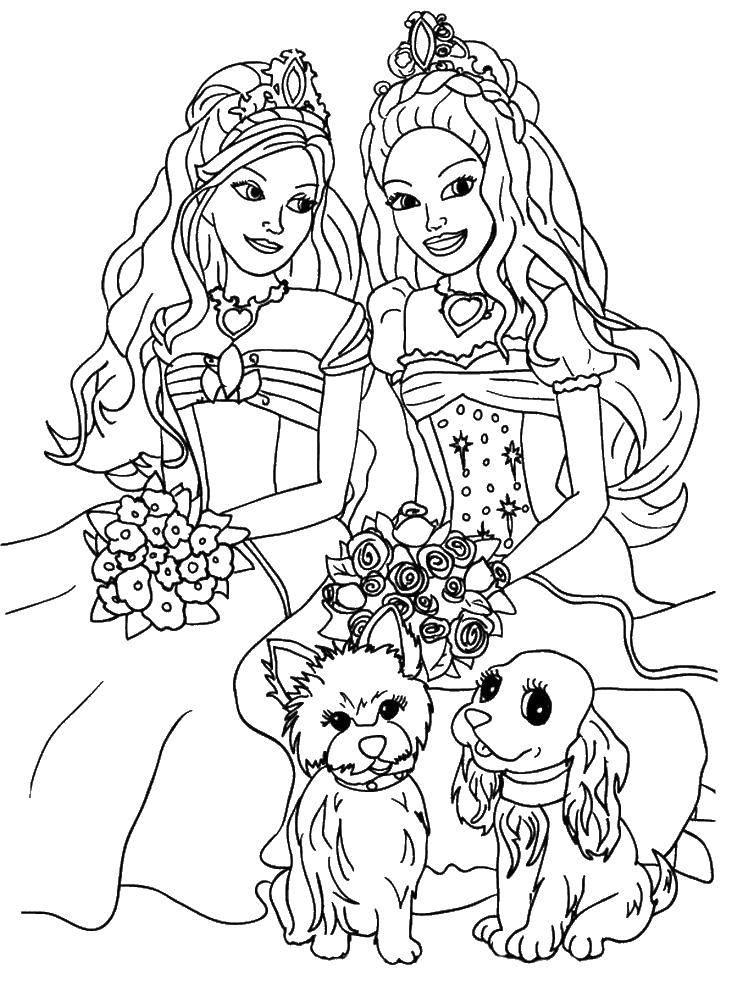 Раскраска Принцессы и собачкт Скачать принцесса, букет, мультфильм, собачки.  Распечатать ,Для девочек,