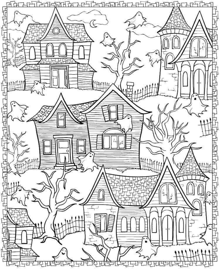 Раскраска Призрак и дома. Скачать Хэллоуин, приведение.  Распечатать ,Хэллоуин,