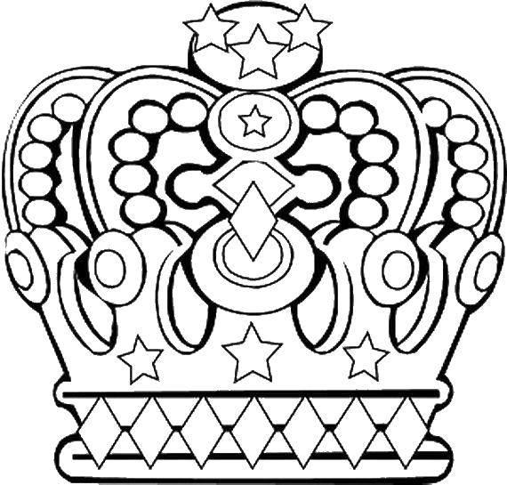 Раскраска Шикарная корона. Скачать Корона.  Распечатать ,Королева,