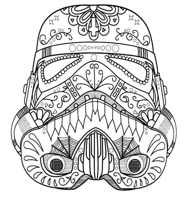 Раскраска Шлем в узорчиках. Скачать Звездные Войны.  Распечатать ,узоры,