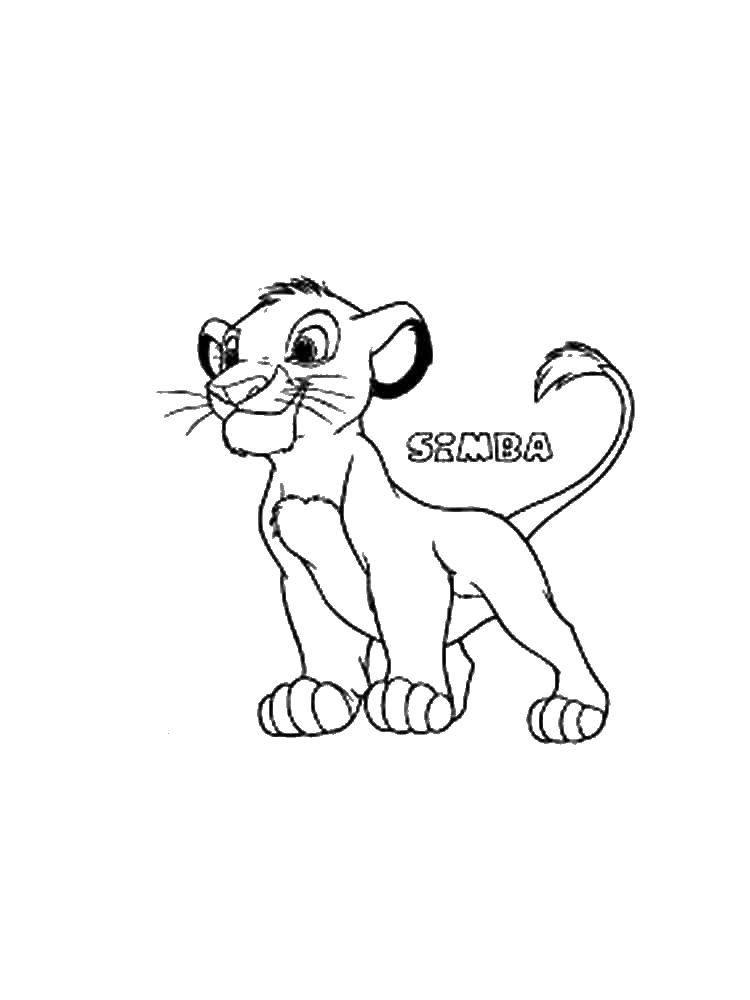Раскраска Симба. Скачать львенок, Симба.  Распечатать ,Король лев,