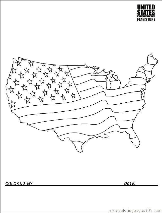 Раскраска Сша, флаг Скачать Америка, США, флаг.  Распечатать ,США,