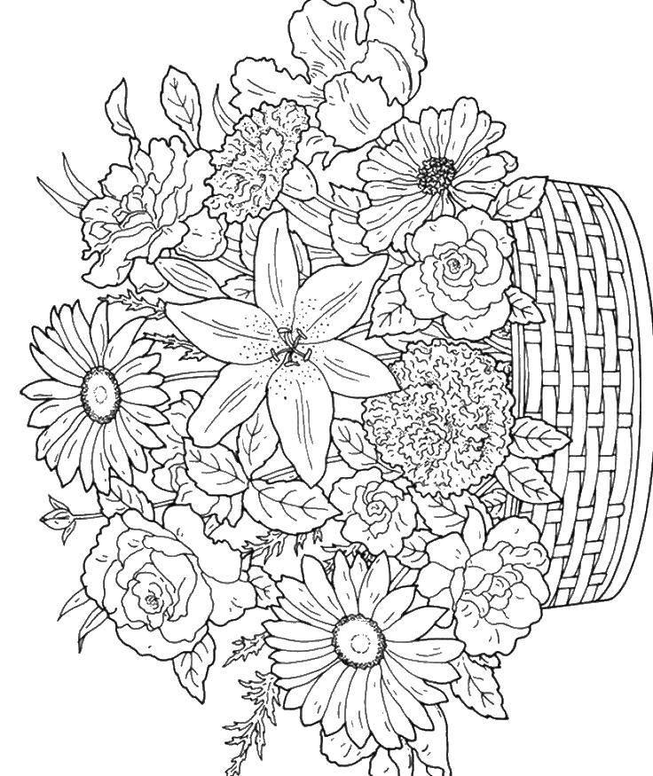 Название: Раскраска Корзина и цветы. Категория: цветы. Теги: корзина, цветы, букет.