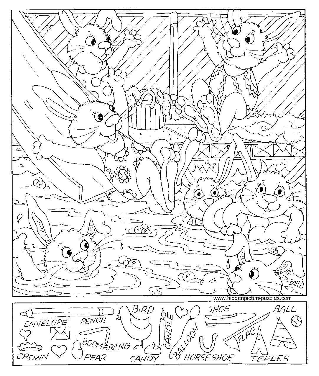 Название: Раскраска Кролики в аквапарке. Категория: Найди предметы. Теги: кролики, горка, бассейн, купальники.
