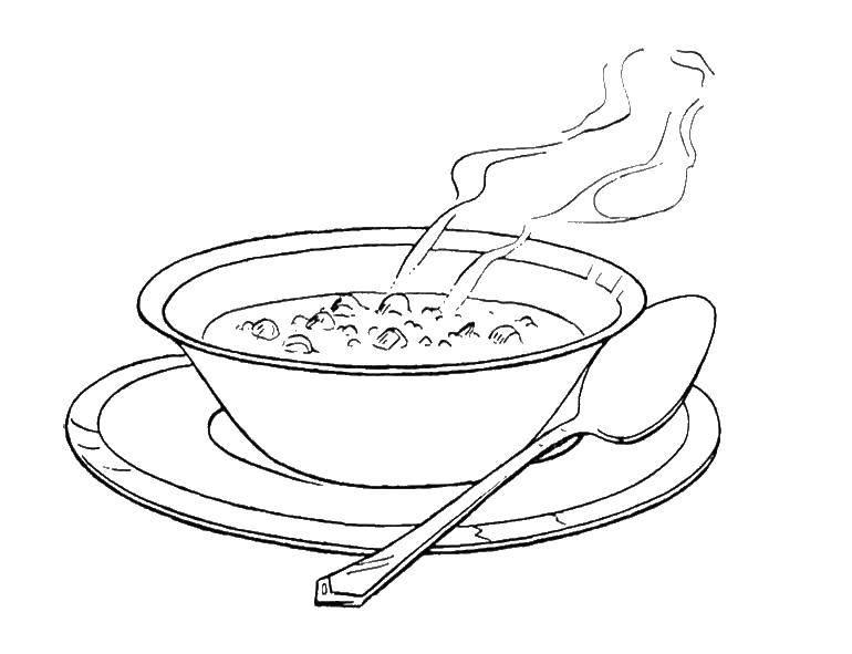 раскраски тарелка раскраска тарелка с супом еда