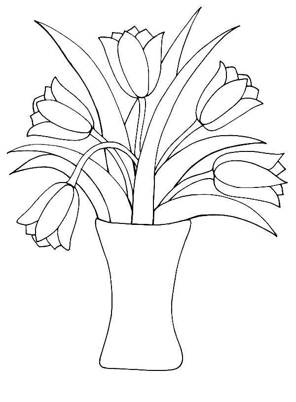 Раскраска Ваза Скачать ,тюльпаны, ваза, цветы,.  Распечатать