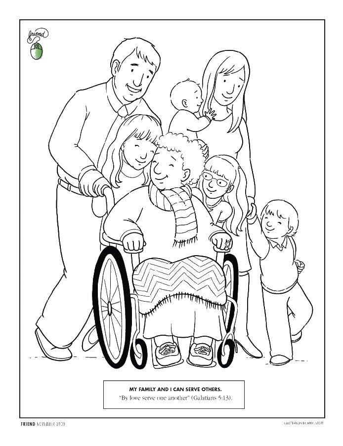 Раскраска Бабушка и ее дети и внуки Скачать семья, бабушка, дети.  Распечатать ,Семья,