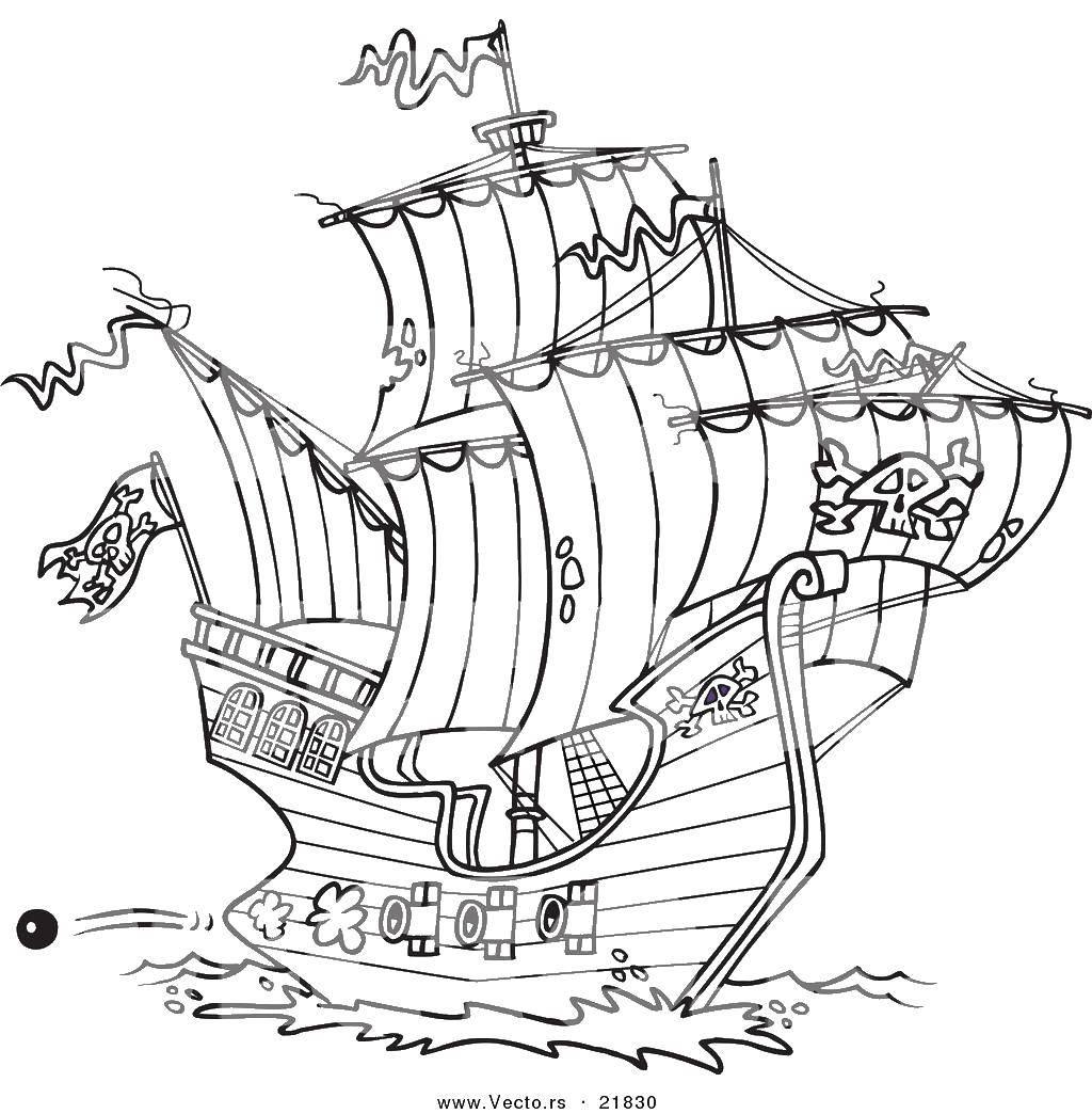 Раскраска Большой пиратский корабль. Скачать пираты, корабли.  Распечатать ,Пираты,