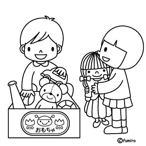 Раскраска Дети и игрушки Скачать дети, игрушкм.  Распечатать ,дети,