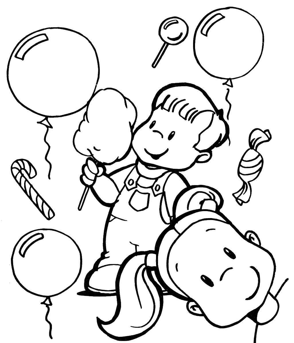Раскраска Дети и сладкая вата с шариками. Скачать дети, шарики, вата.  Распечатать ,дети,