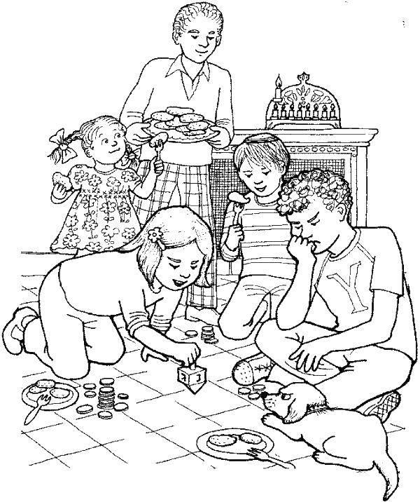 Раскраска Дети играют дома Скачать семья, дети.  Распечатать ,дети,