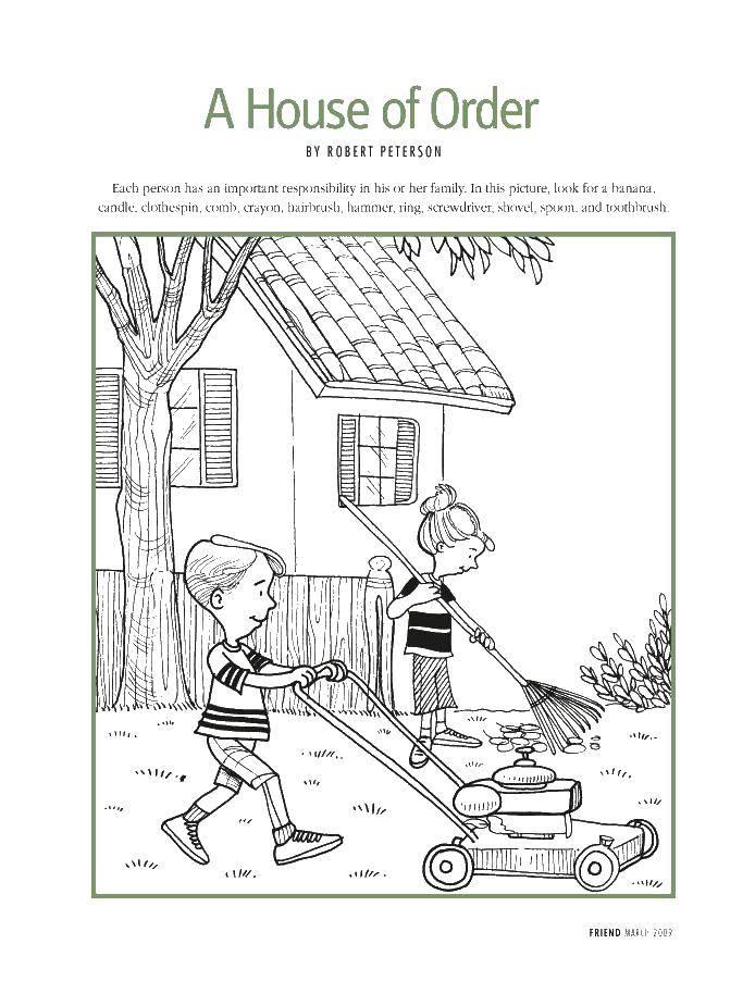 Раскраска Дети убираются во дворе Скачать мальчик, девочка, грабли, двор.  Распечатать ,Уборка,