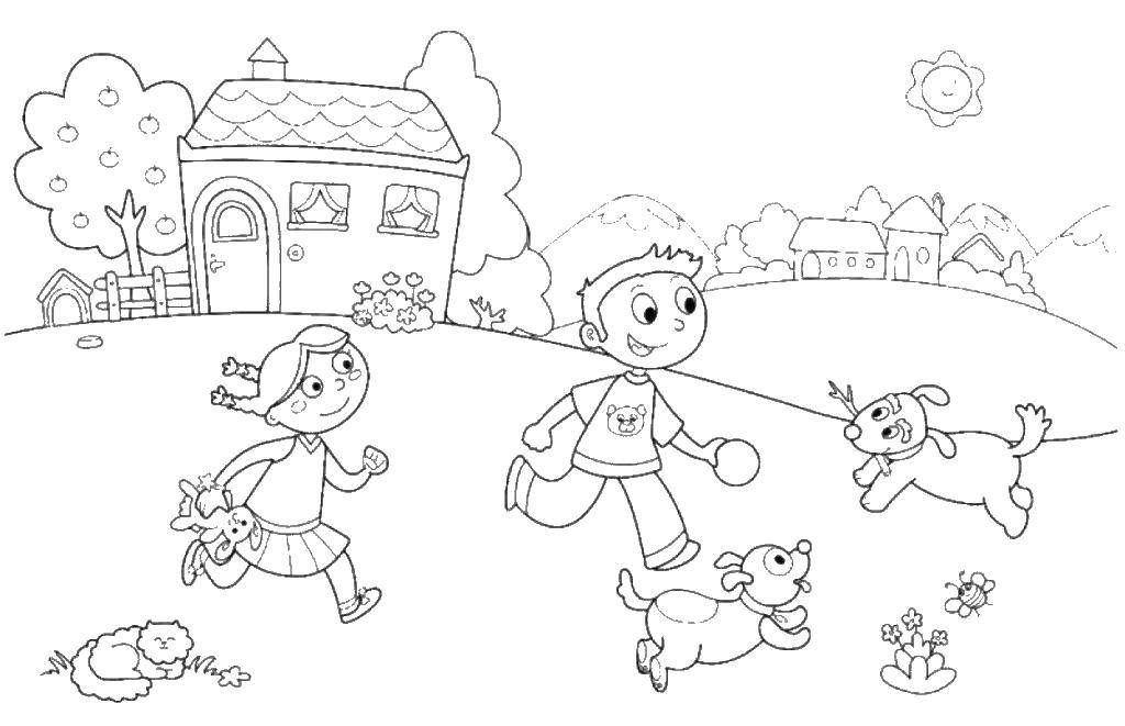 Раскраска Детки играют с животными Скачать дети, животные, семья.  Распечатать ,дети,