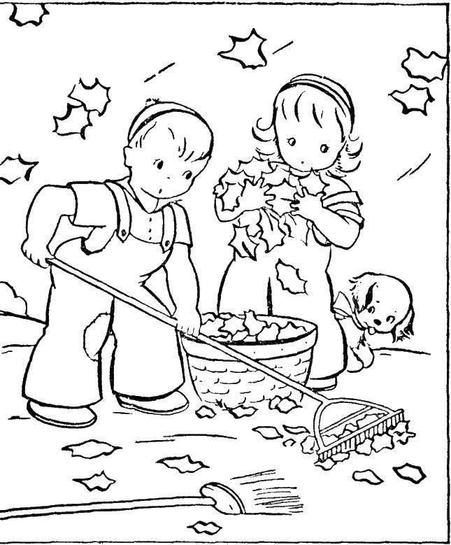 Раскраска Детки убирают листву Скачать уборка, листва, дети.  Распечатать ,Уборка,