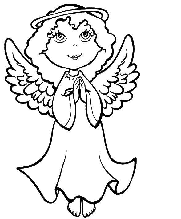 Раскраска Девочка ангелочек Скачать ангел, крылья, нимб.  Распечатать ,раскраски,
