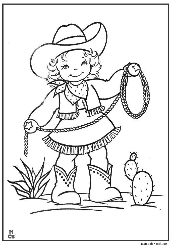Раскраска Девочка ковбой и веревка Скачать ковбой, веревка, кактус, шляпа.  Распечатать ,Для девочек,