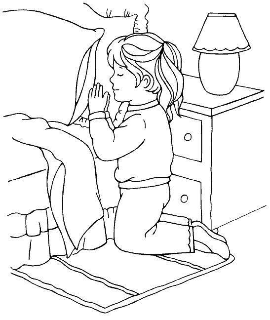 Раскраска Девочка молится. Скачать религия, девочка, молитва.  Распечатать ,религия,