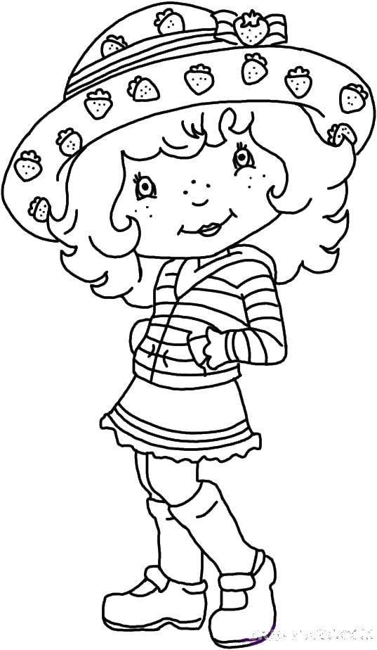 Раскраска Девочка в шляпе с клубничкой Скачать девочка, юбка, шляпа, клубничка.  Распечатать ,дети,