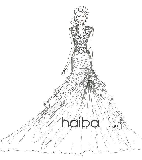 Раскраска Девушка в свадебном платье Скачать девушка, платье.  Распечатать ,свадебные платья,