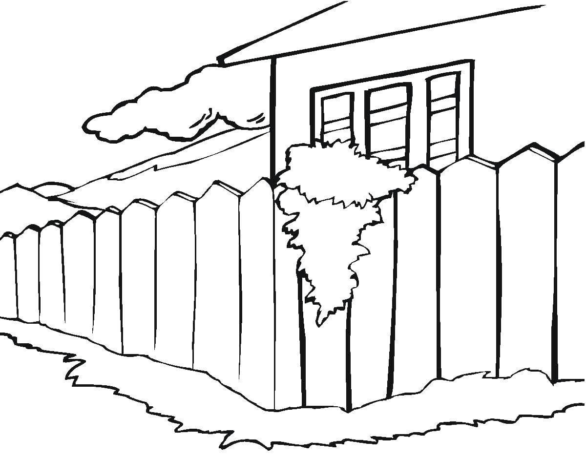 Раскраска Дом и забор. Скачать дома, забор.  Распечатать ,дома,