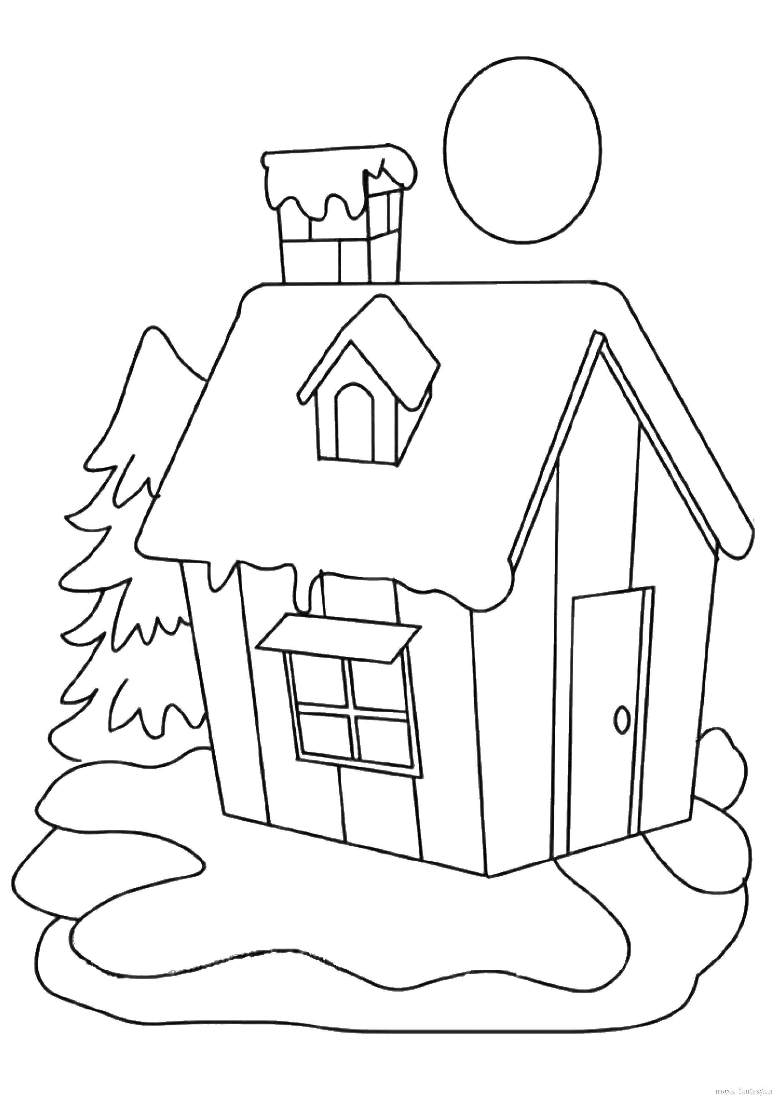 Раскраска Домик в снегу и елка Скачать ,дом, снег, елка,.  Распечатать
