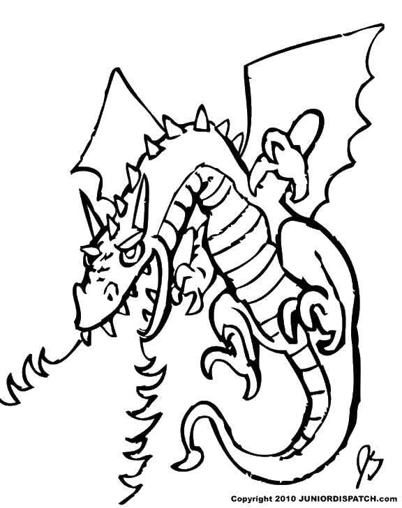 Раскраска Дракон дышит огнем. Скачать драконы, огонь, крылья.  Распечатать ,Огонь,