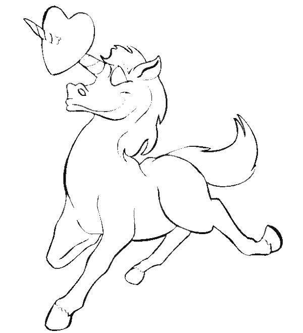 Раскраска Единорог с сердечком Скачать единорог, сердце.  Распечатать ,единороги,